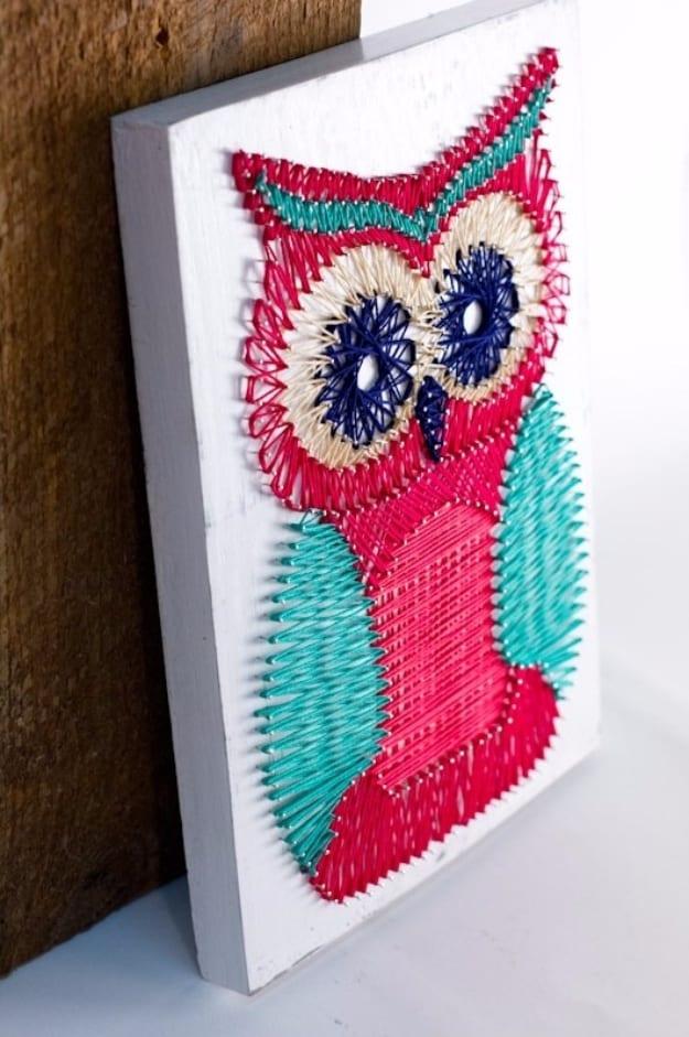 Multicoloured owl string art