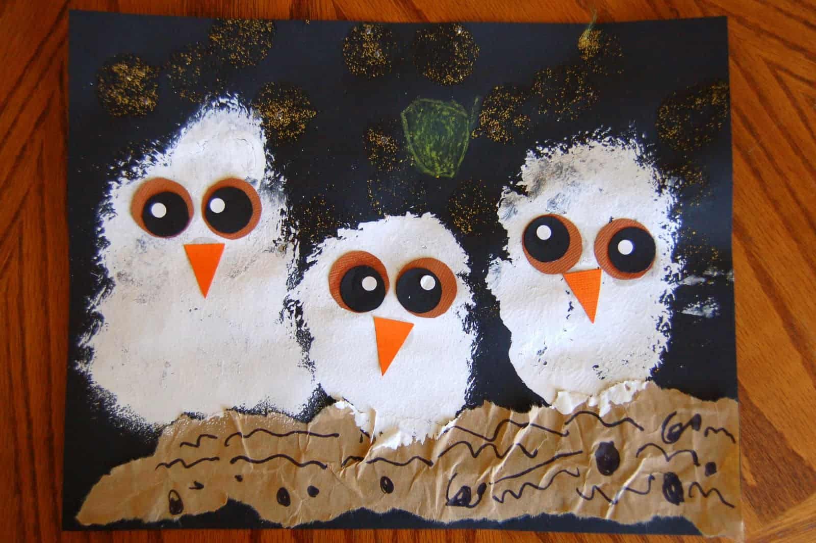 Painted owl babies craft