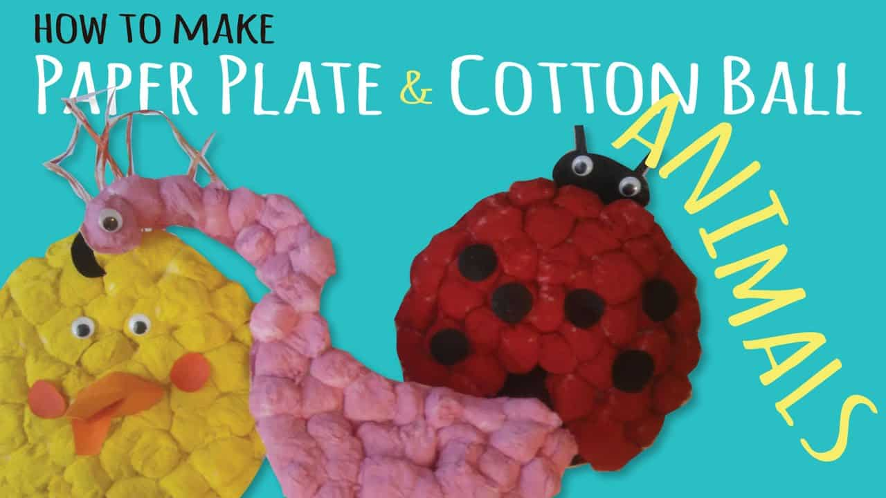 Paper plate and cotton ball animals