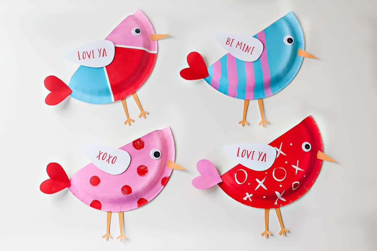 Paper plate bird Valentines