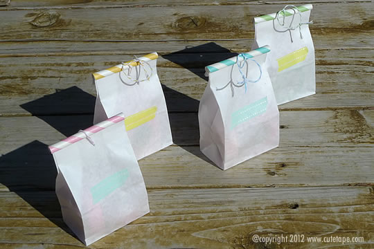 Paper straw and washi tape party favour bags