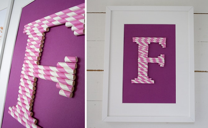 Paper straw framed monogram