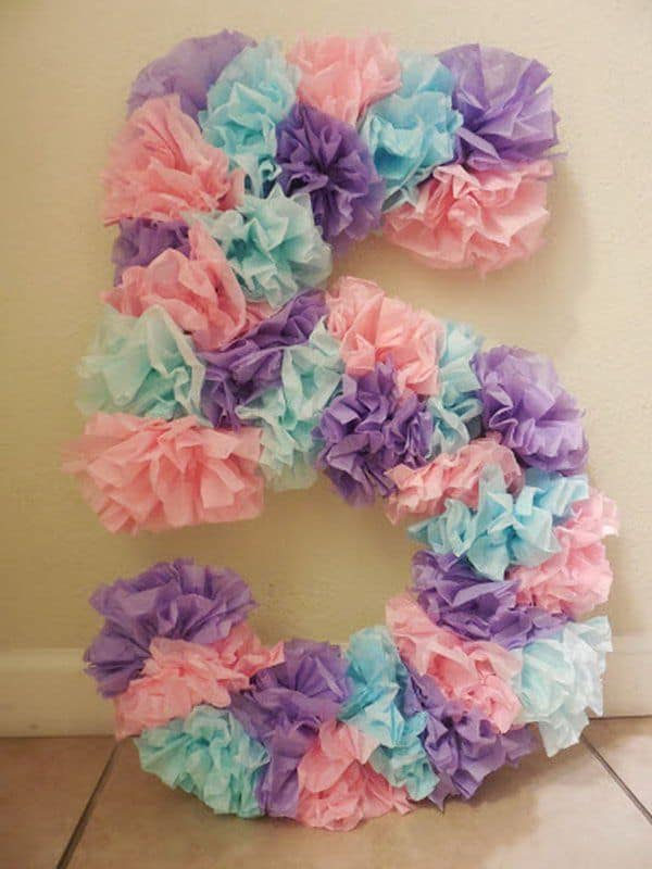 Pastel bunched tissue birthday numbers