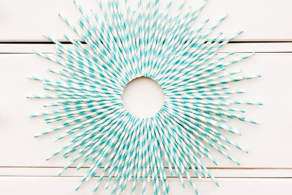 Pastel paper straw wreath