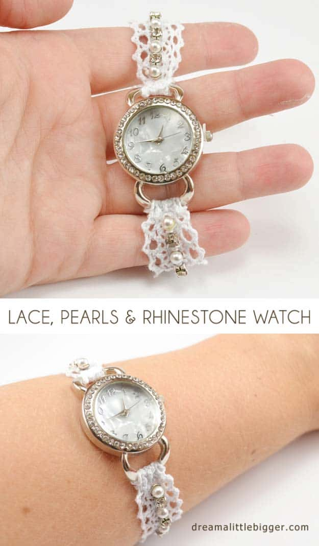 Pearl and lace watch wristband