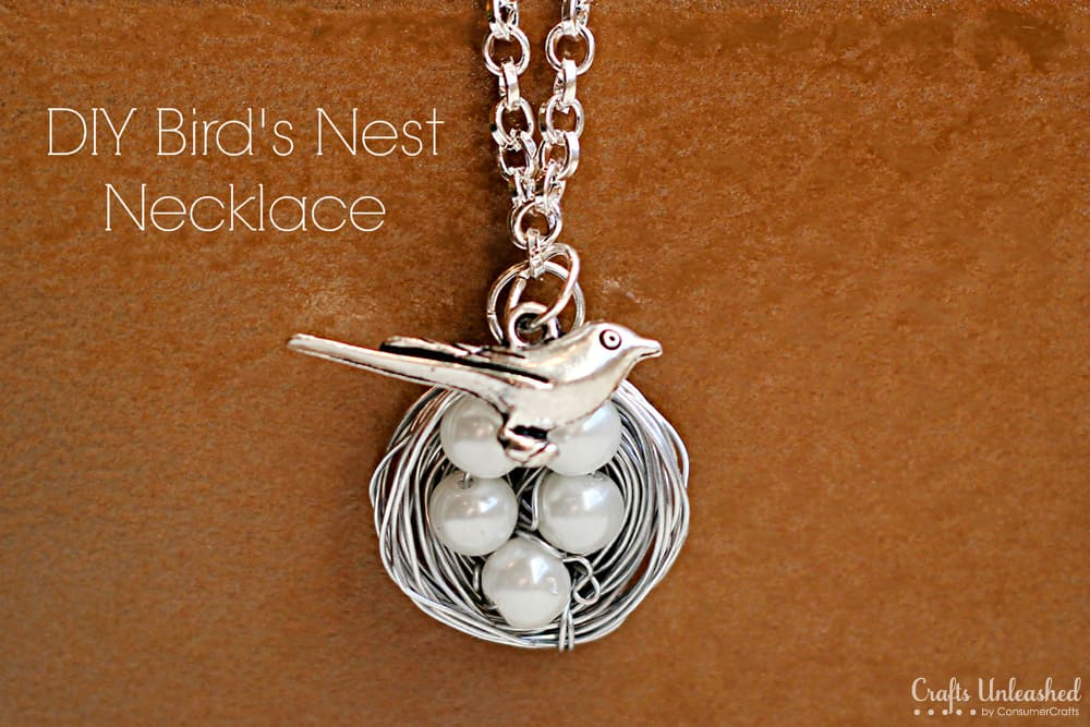 Pearl and wire bird's nest necklace
