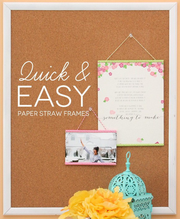 Quick and easy hanging paper straw photo frames
