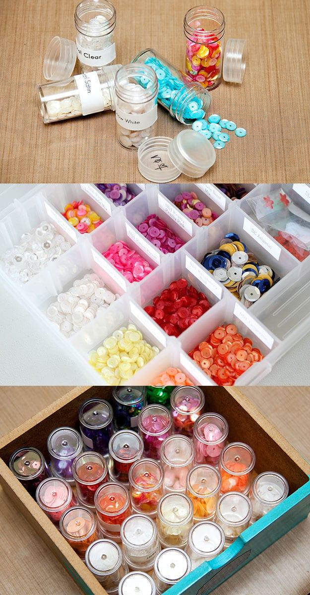 Sequin, rhinestone, and button organizer