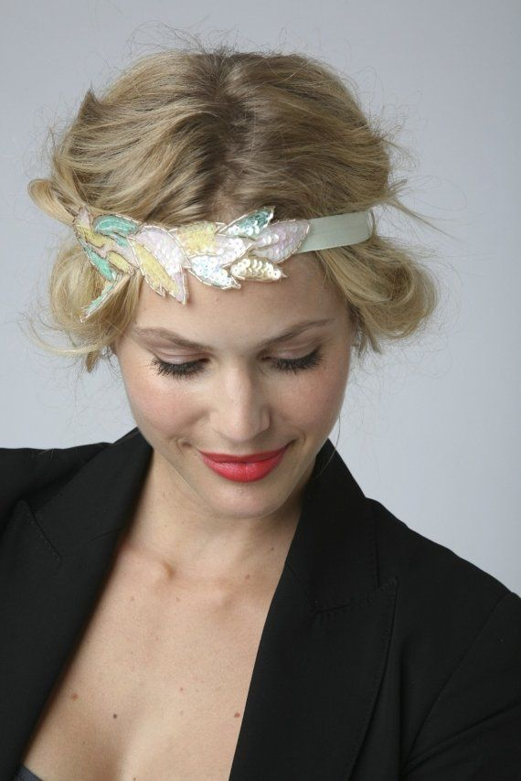 Sequinned applique leaf headband