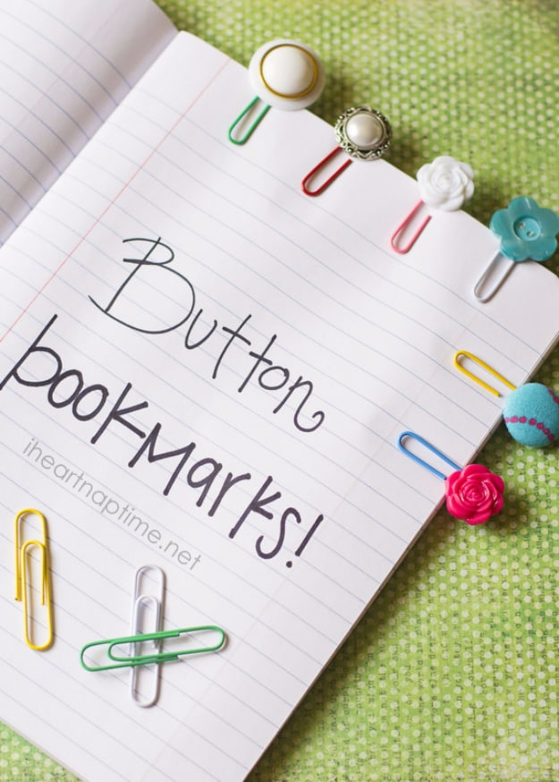 7 Simple And Cute Button Paperclip Bookmarks