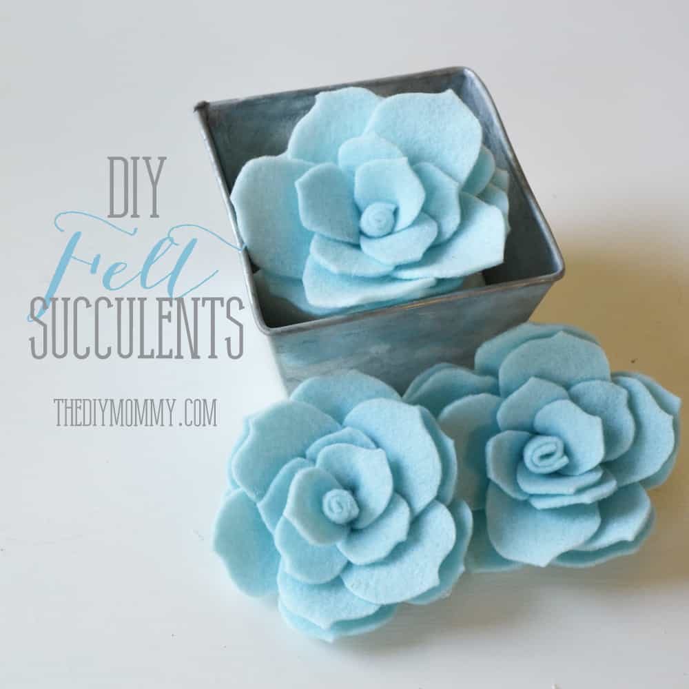 Simple baby blue felt succulents