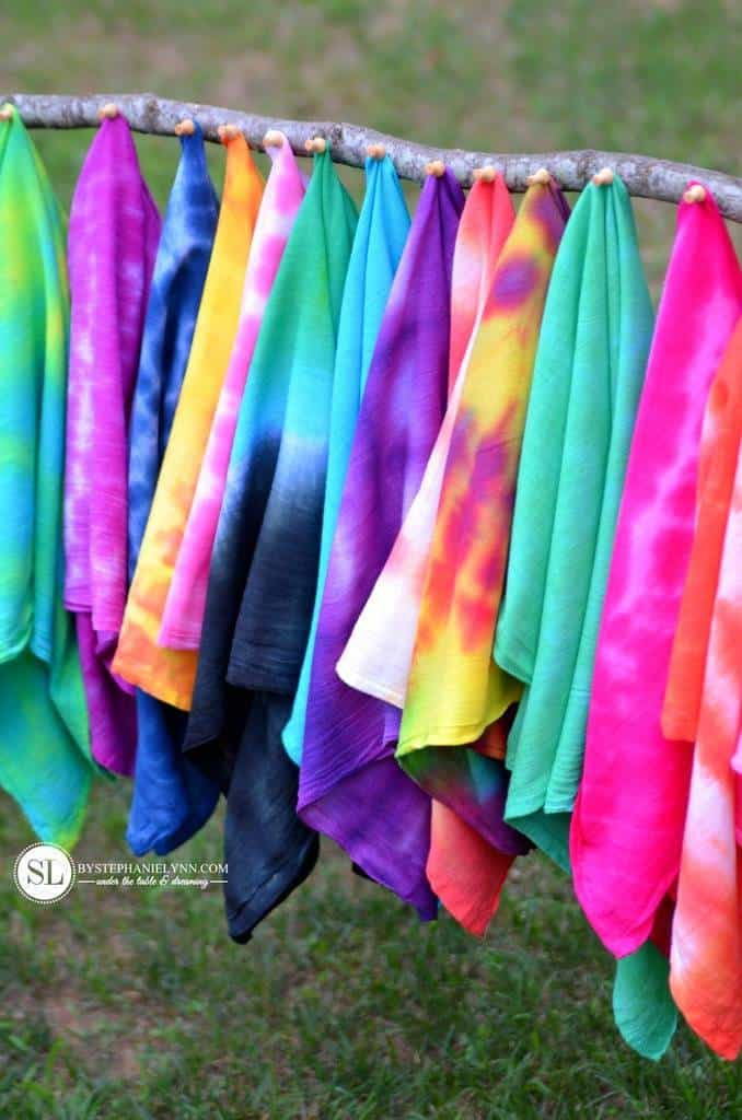 Tie dyed kitchen towels