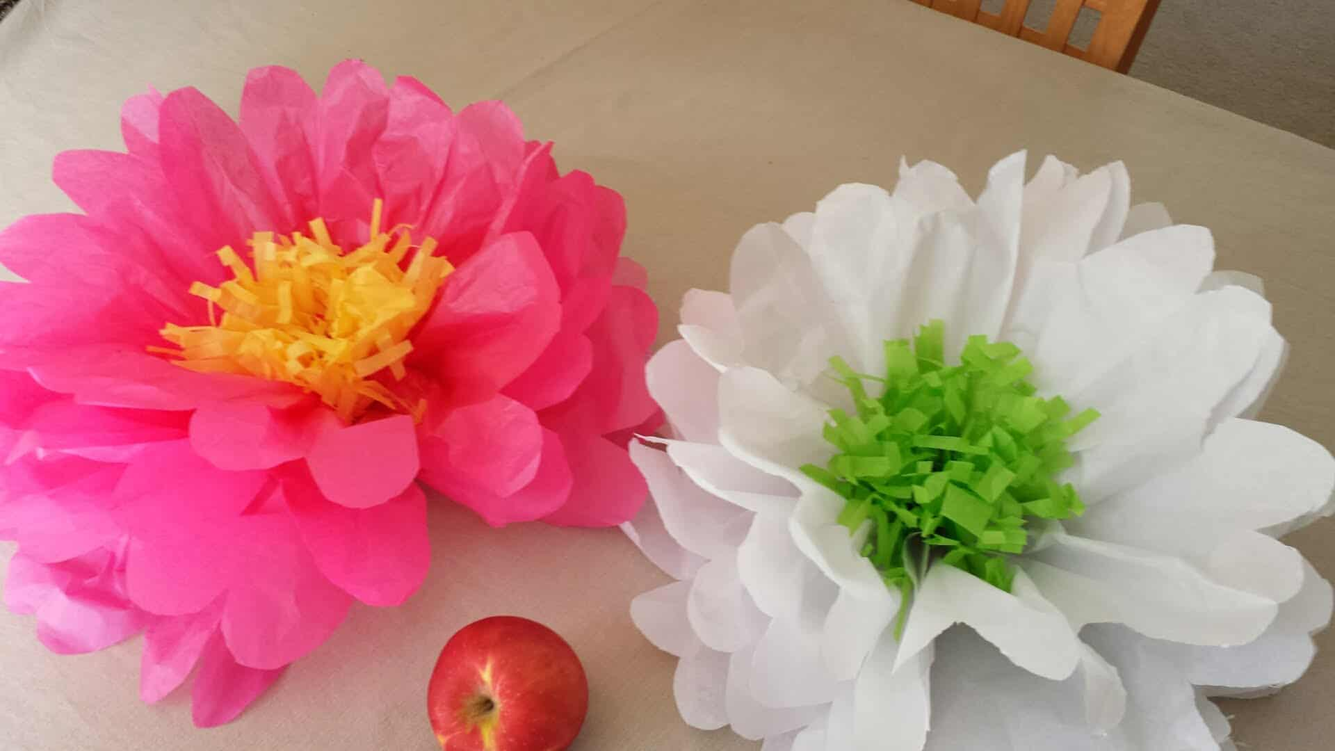Tissue paper flowers with shredded tissue centres