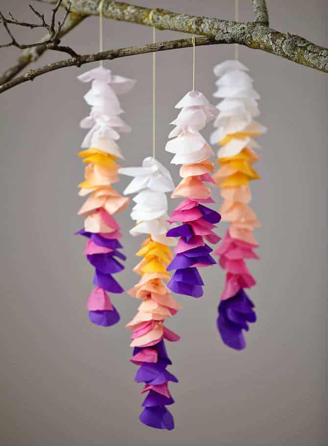 Tissue paper petal strings