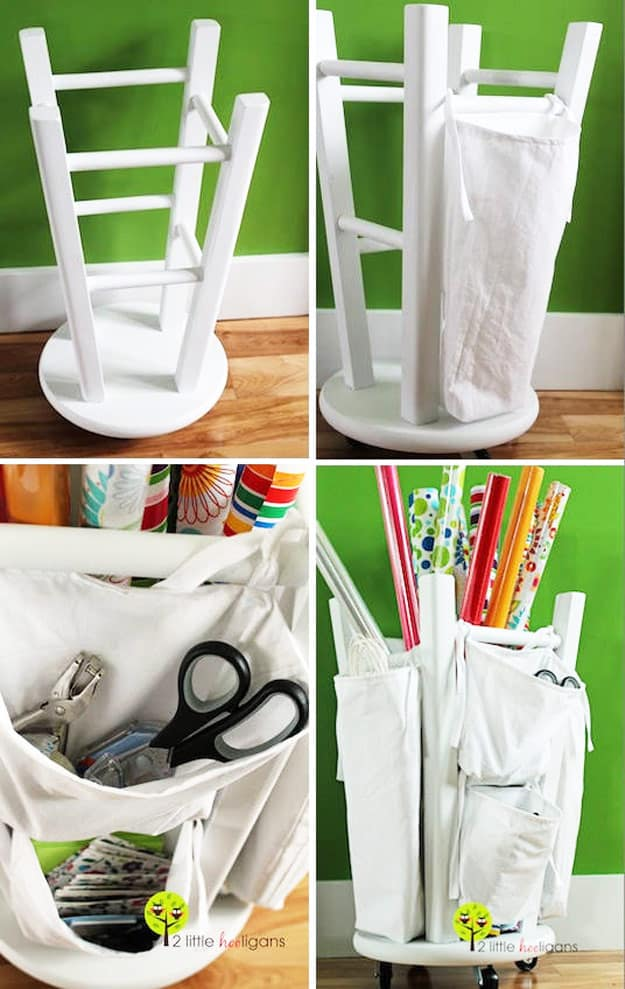 Upside down stool and pocket organizer