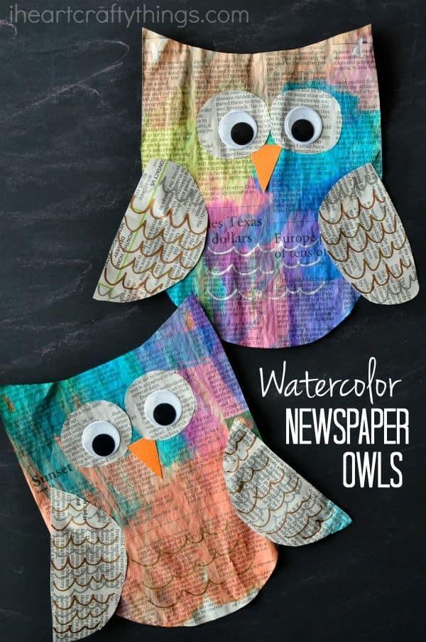Watercolour newspaper owls