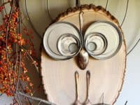 Wood slice and upcycled cutlery owl decoration 200x150 15 Bright Eyed and Adorable Owl Themed Crafts for Everyone