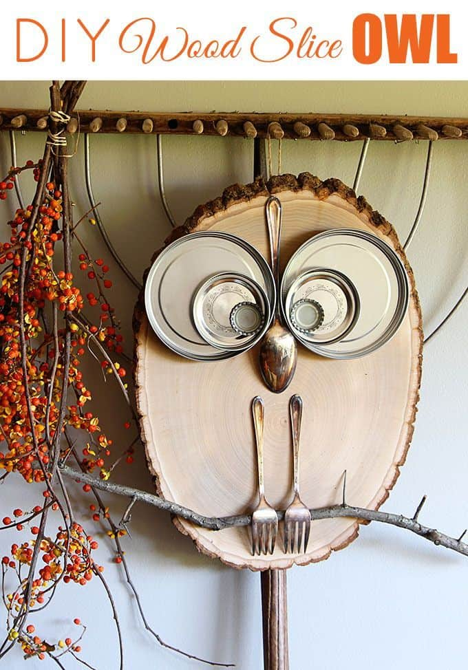Wood slice and upcycled cutlery owl decoration