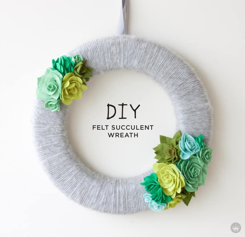 Yarn wrapped felt succulent wreath