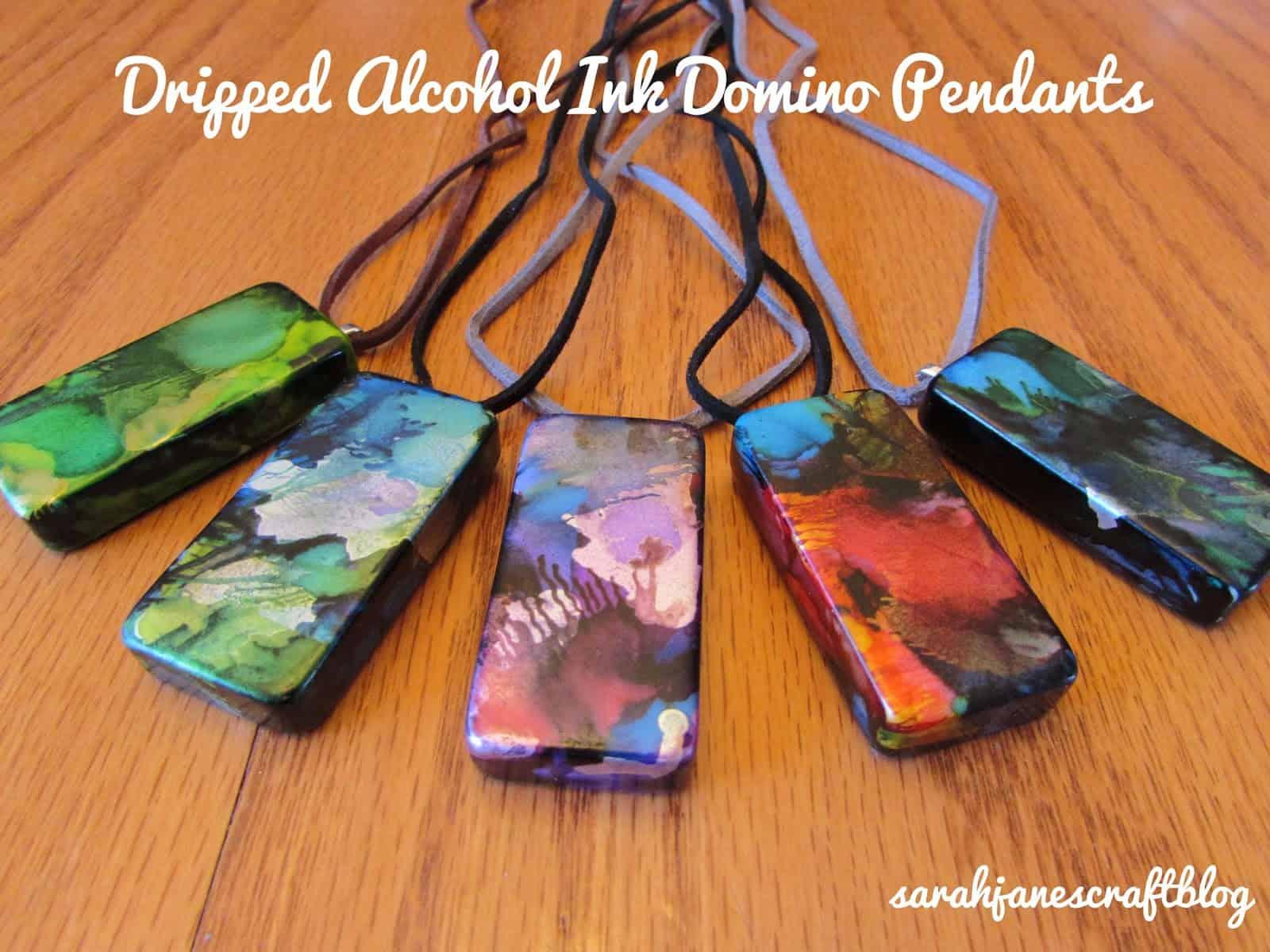 Alcohol ink domino pendants