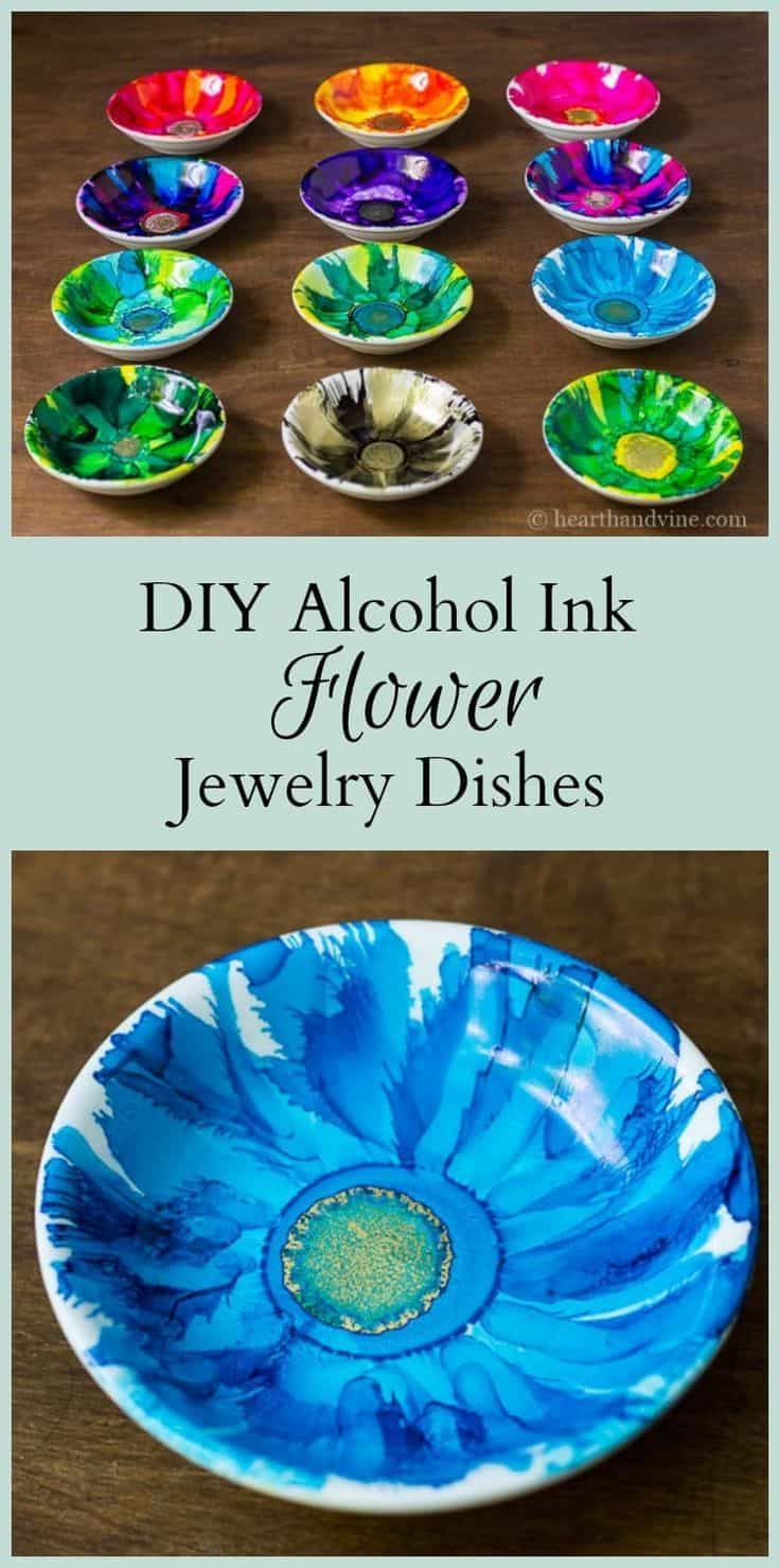 Alcohol ink flower jewelry dishes
