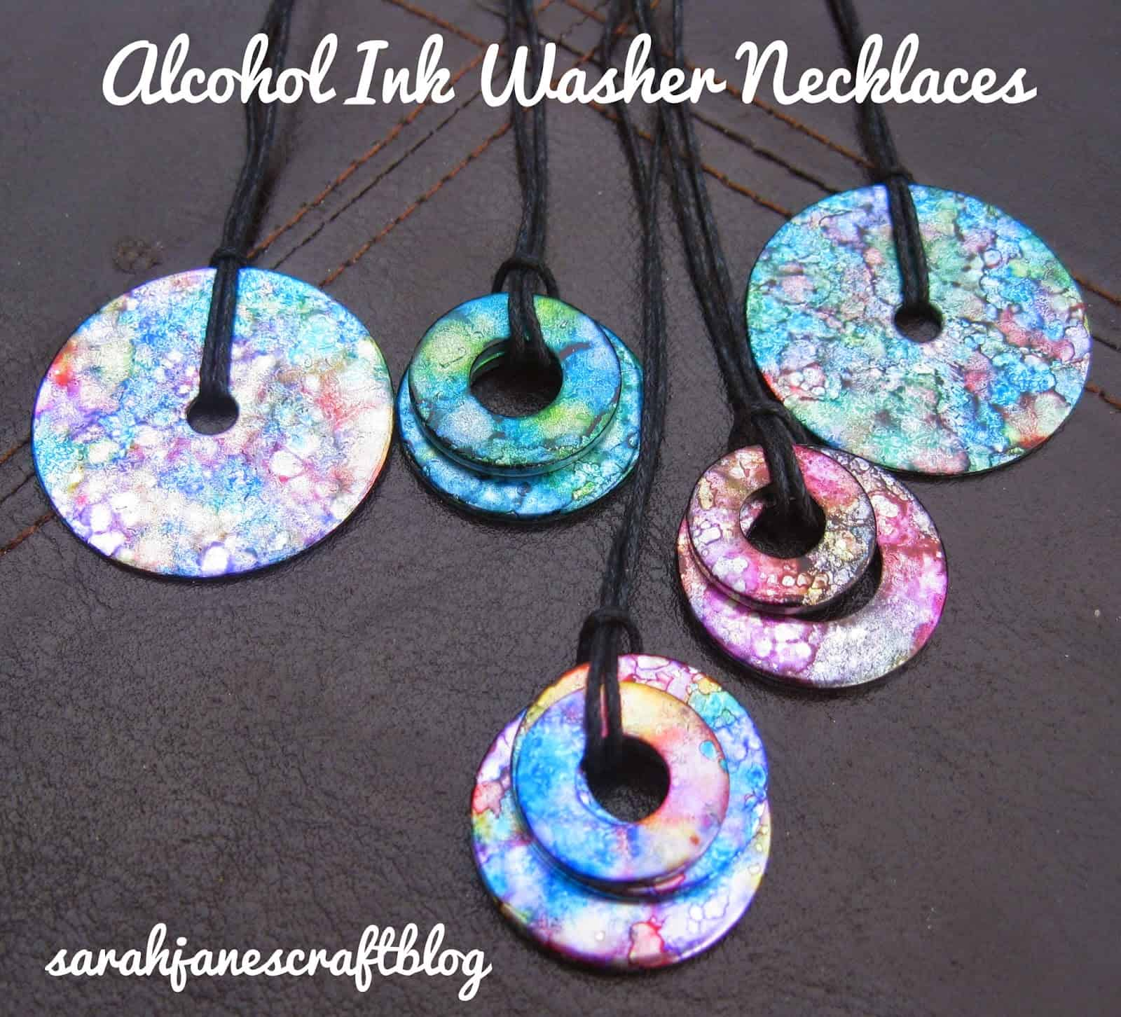 Alcohol ink washer necklaces