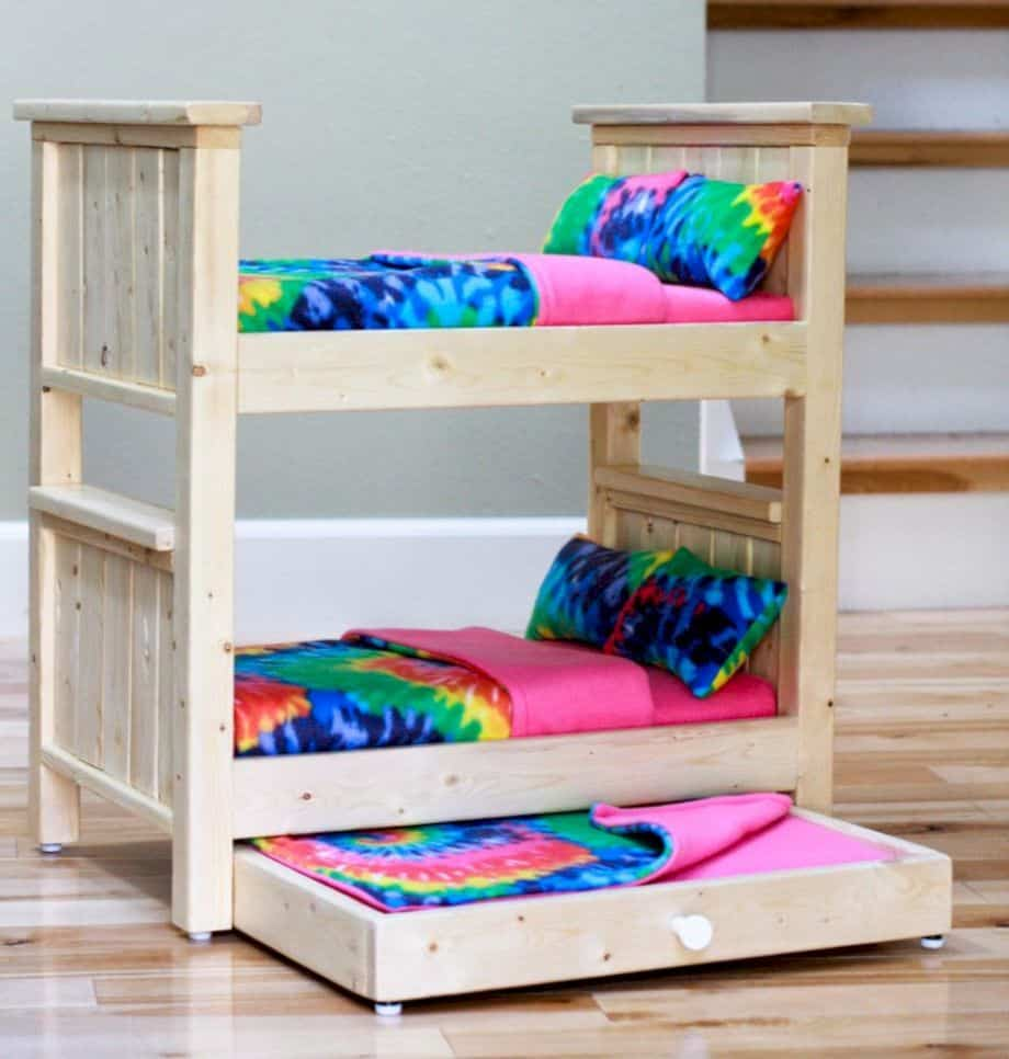 Barbie bunk beds with a trundle bed