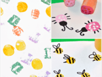 Carrot stamped bugs 200x150 Fun Fruit and Vegetable Stamping Projects to Try With Your Kids