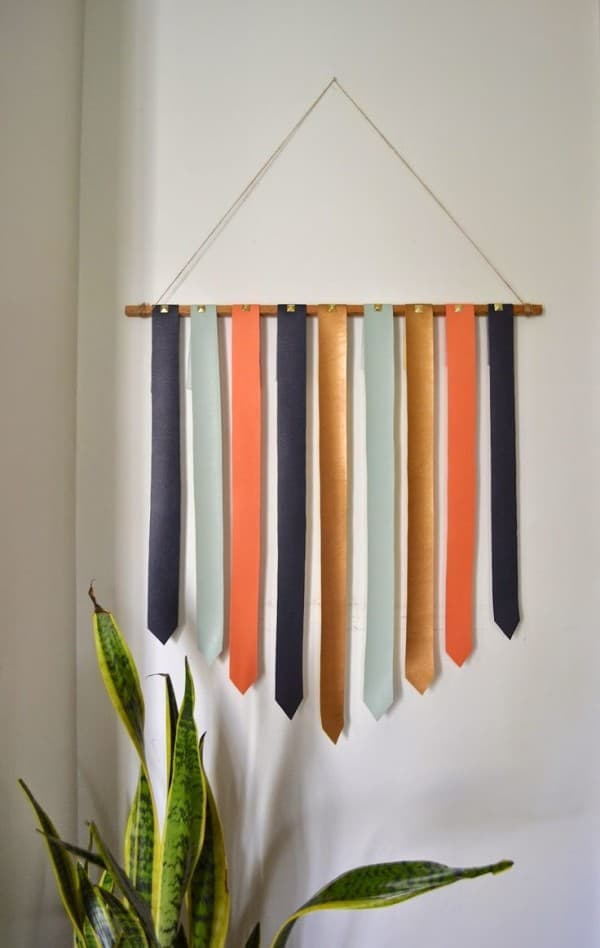 Coloured leather strip wall hanging