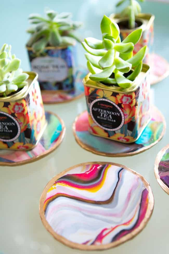 Colourful marbled coasters