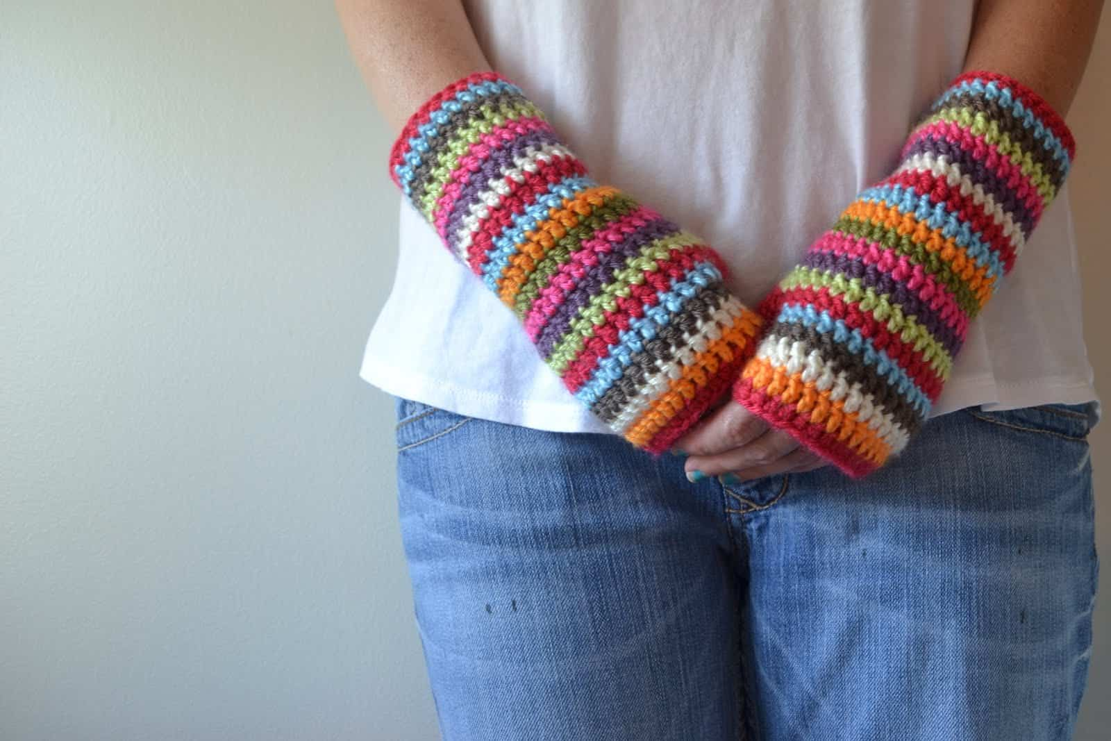 Colourful stripey fingerless mittens