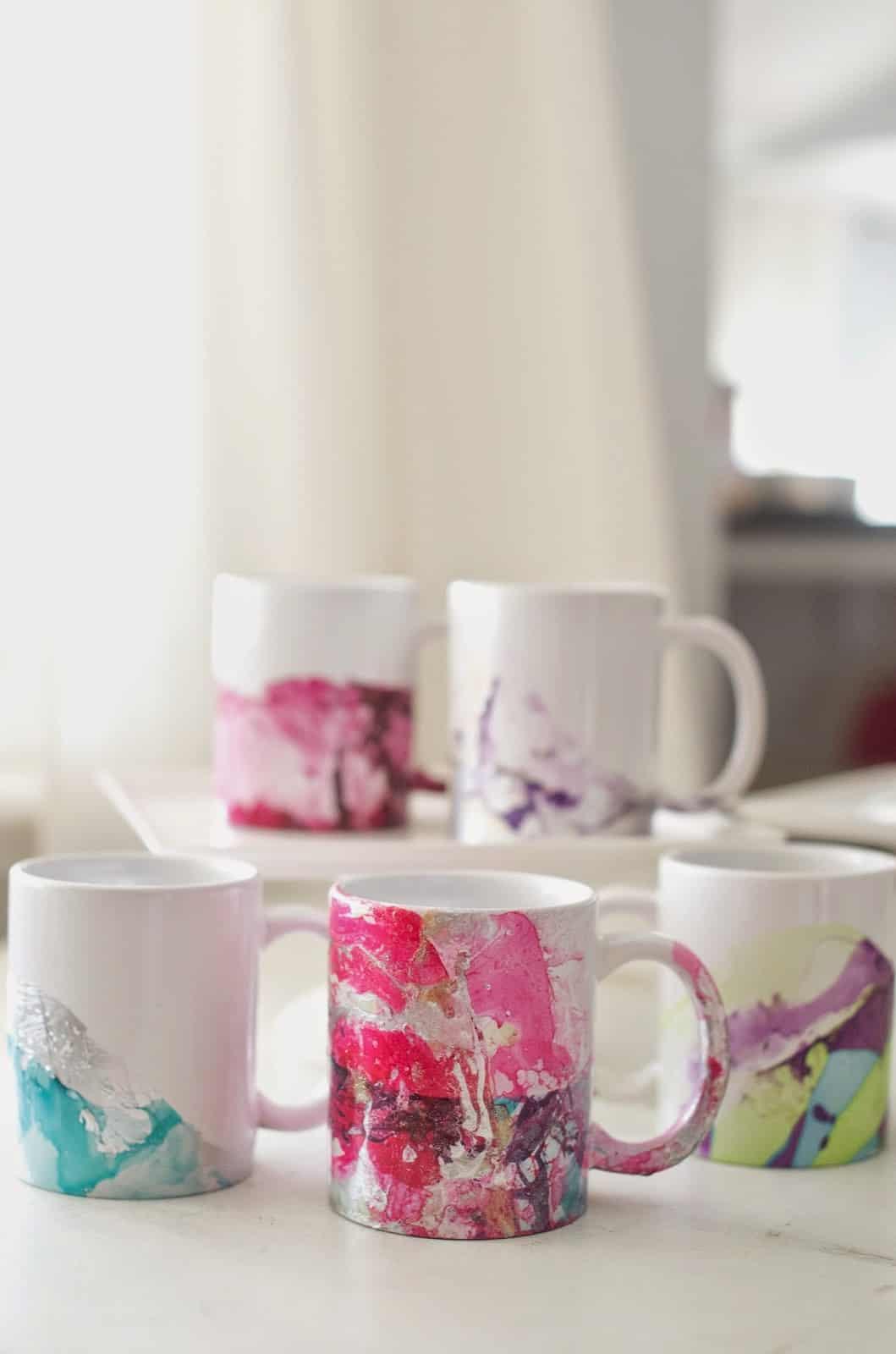 Custom marbled coffee mugs
