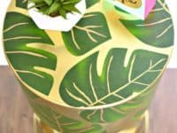 Decoupaged palm leaf table 200x150 Add Color and Green: Best DIY Plant Decoupage Projects!