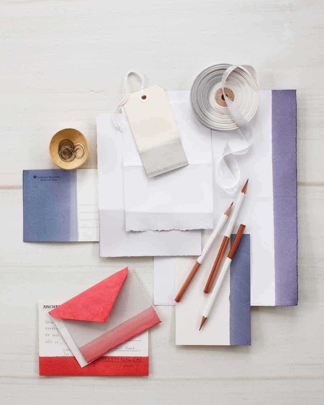 Dip dyed stationery and cards