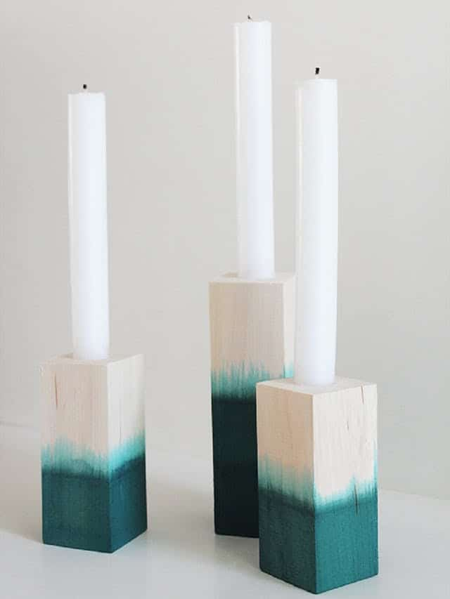 Dip dyed wooden candle sticks