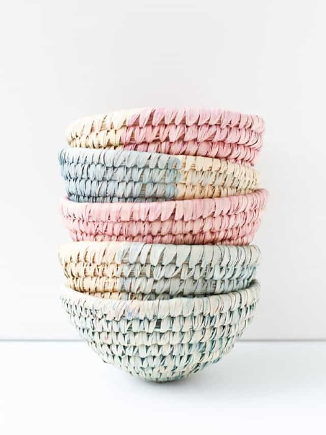 Dip dyed woven baskets