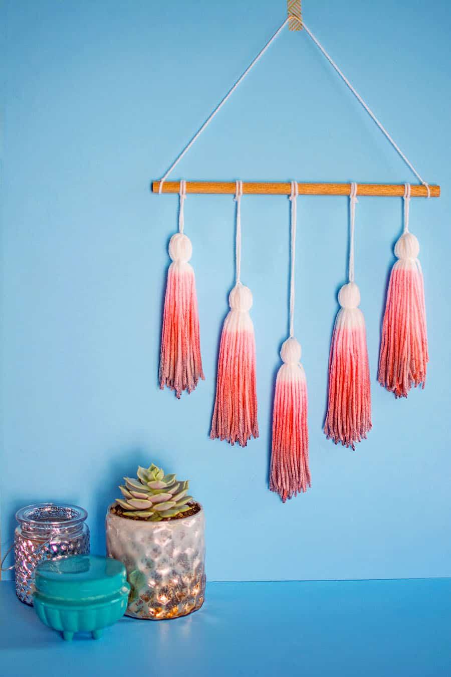 Dip dyed yarn tassel wall hanging