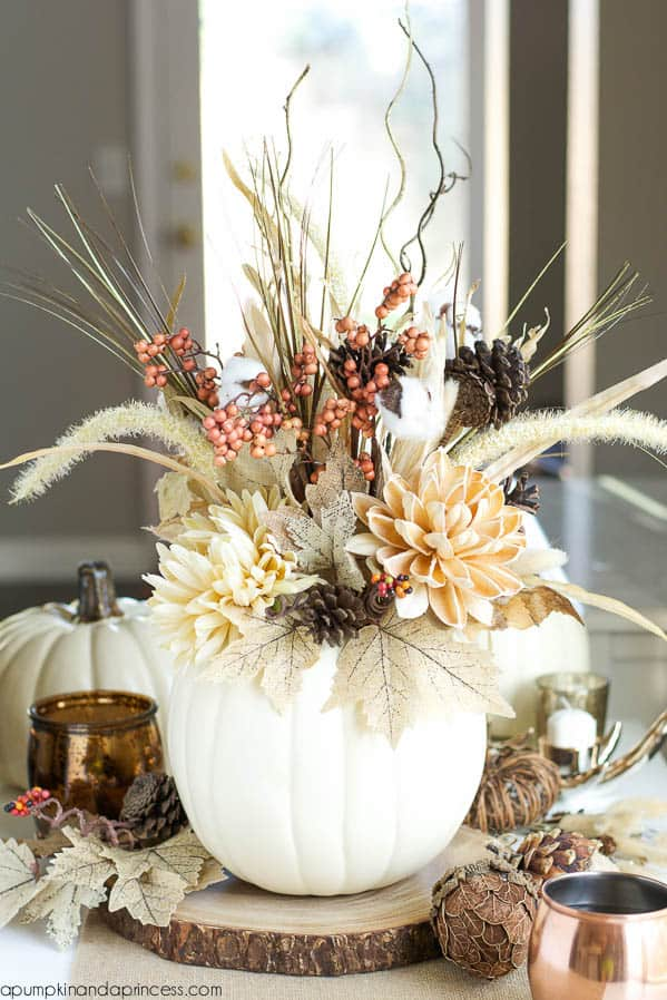 Dried fall flower pumpkin vase