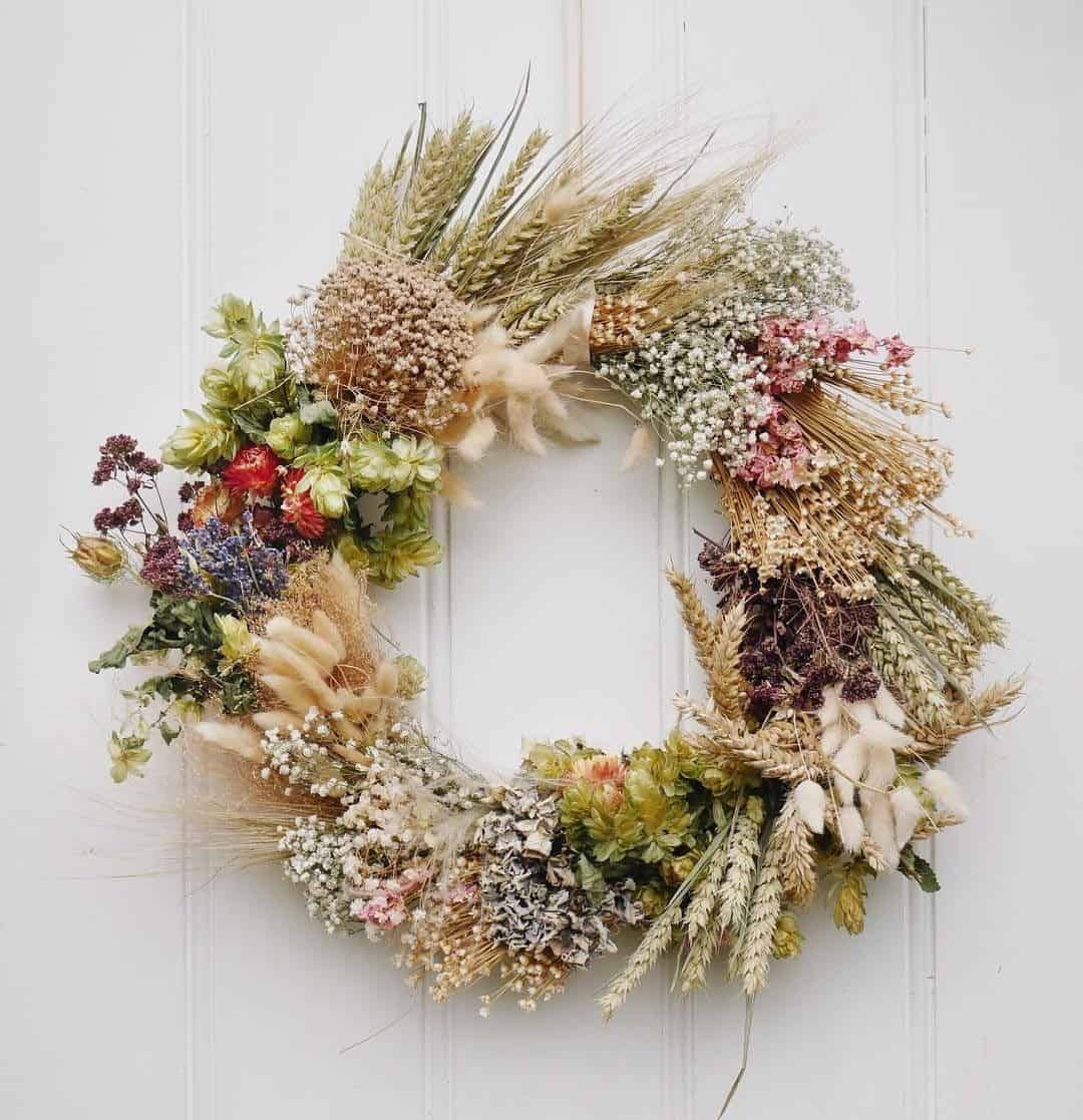 Dried flower and autumn wheat wreath
