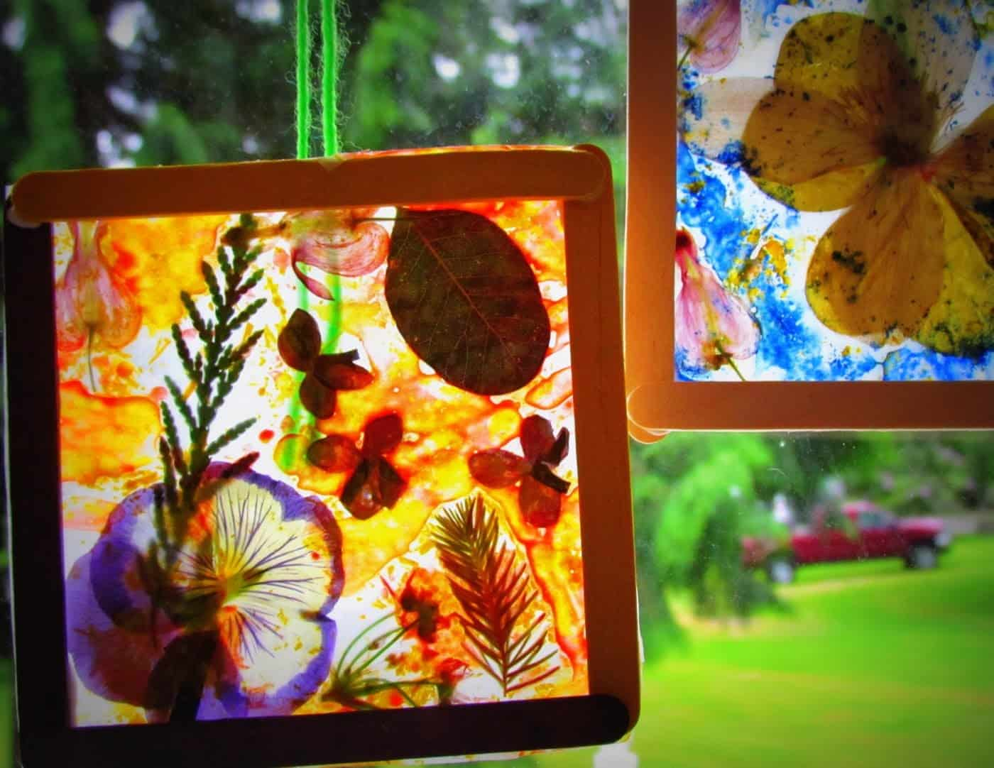 Dried flower and leaf stained glass