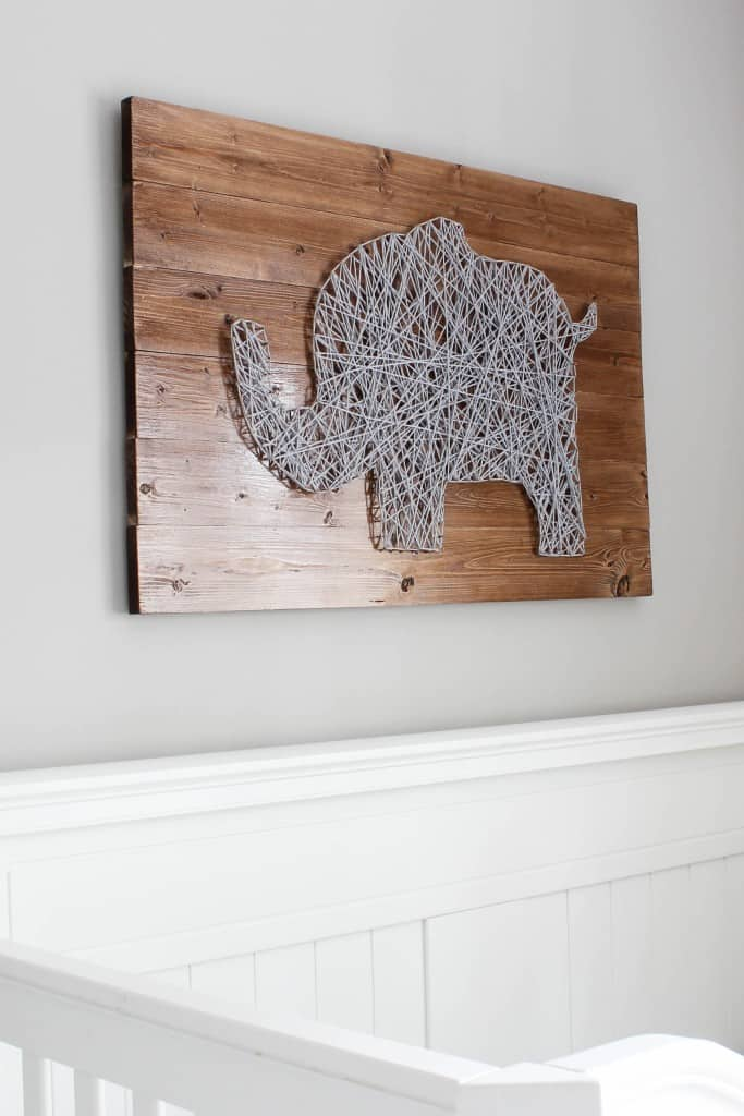 Elephant shaped nursery string art