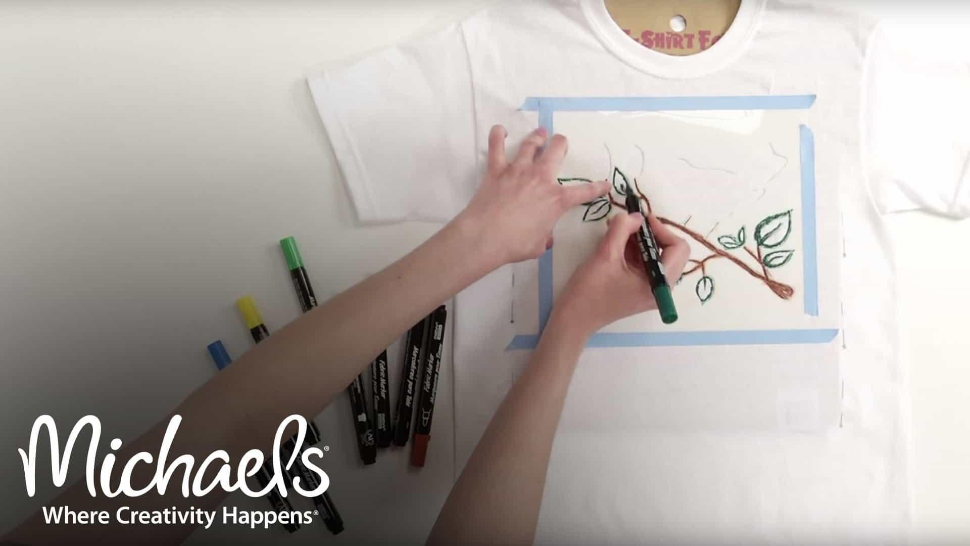 Fabric marker stencilled t-shirt