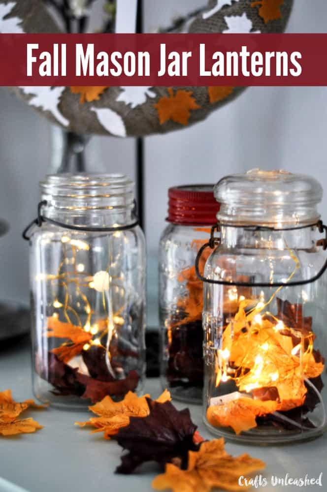 Fall lead mason jar lanterns