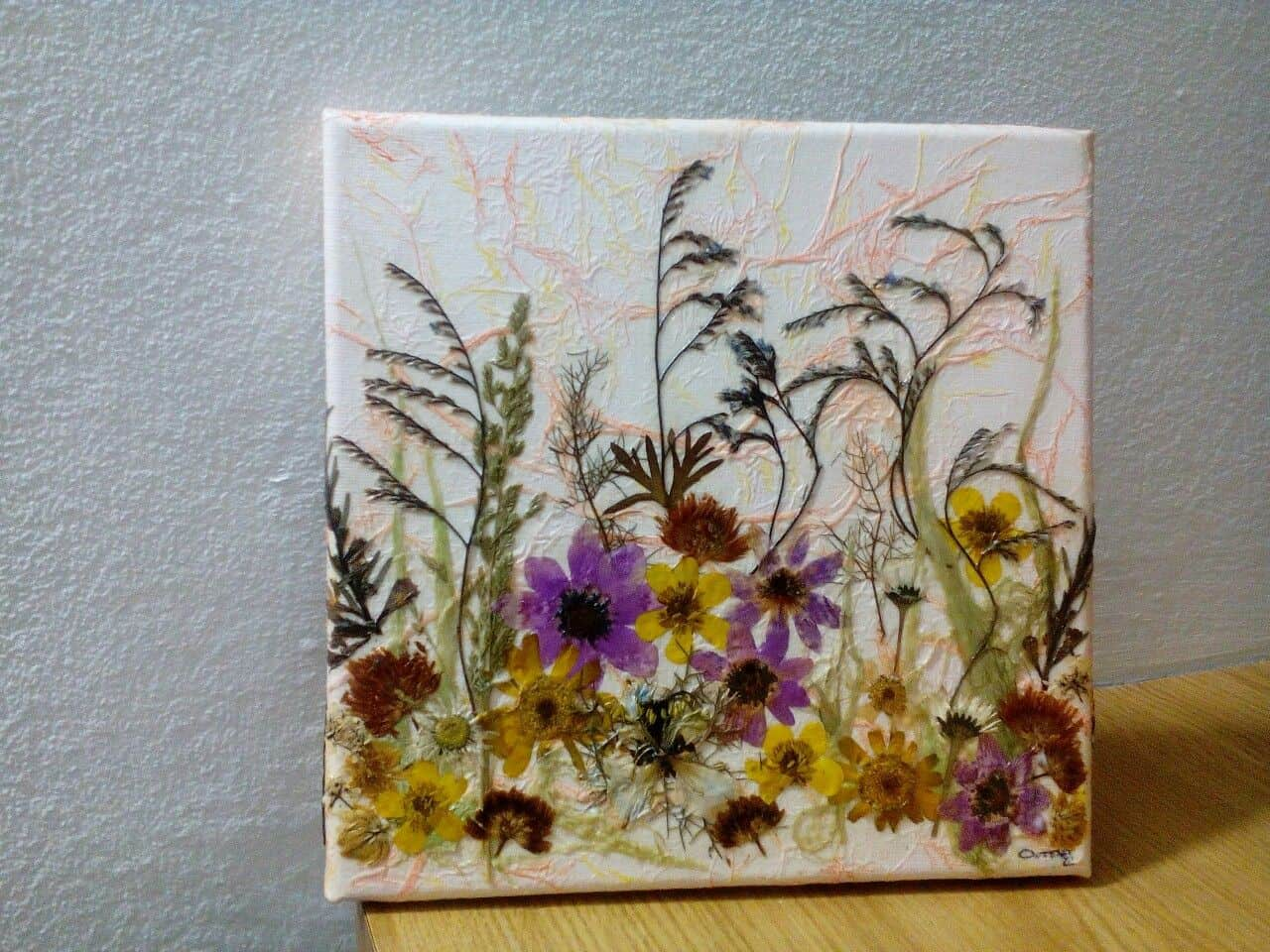 Fall pressed flower canvas