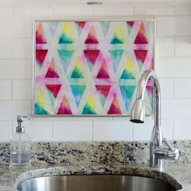 Geometric framed textile art