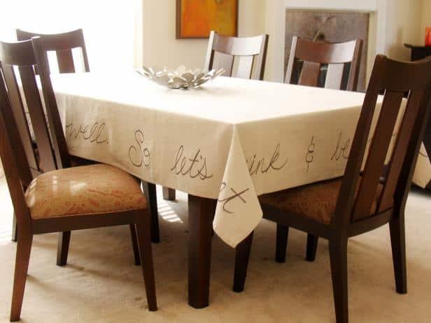 Handwritten fabric marker tablecloth
