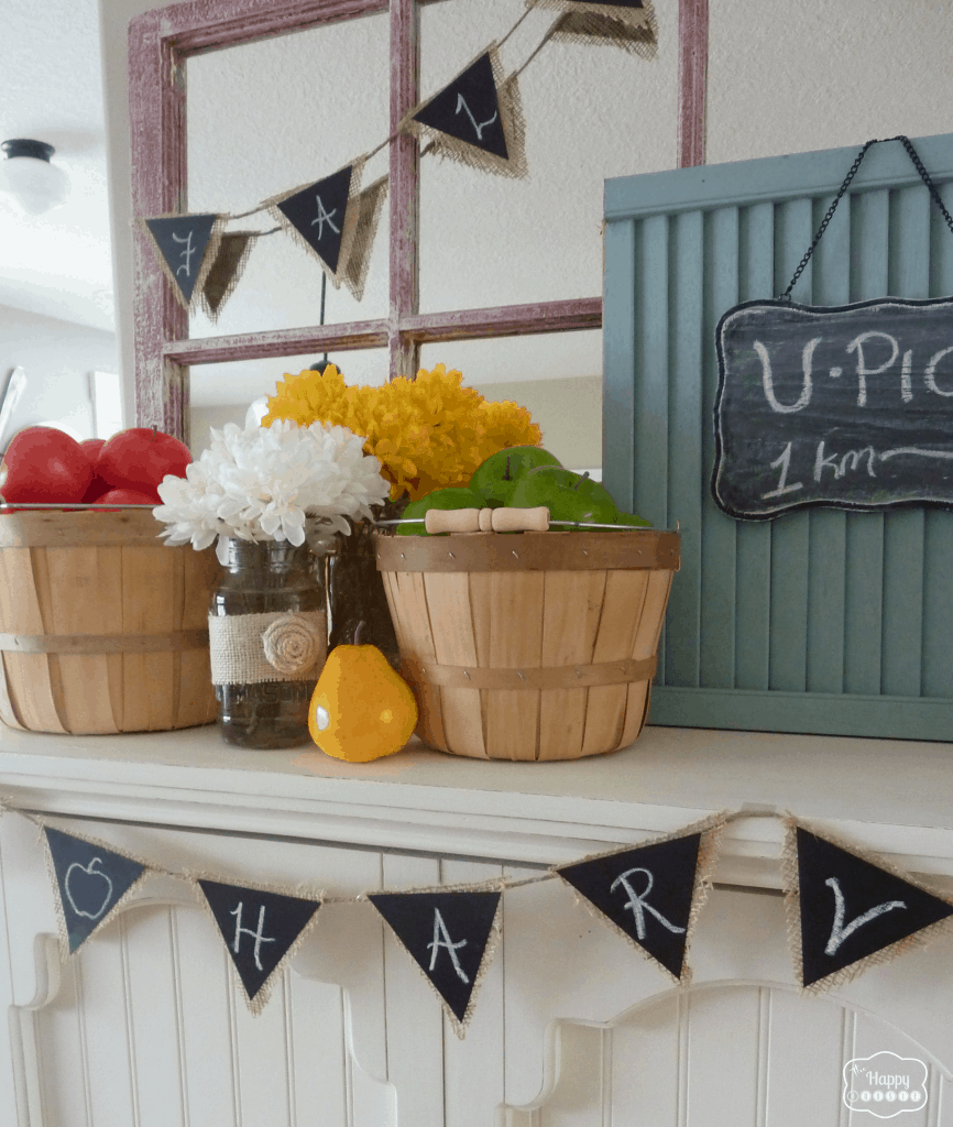 Harvest baskets and chalkboard buntings