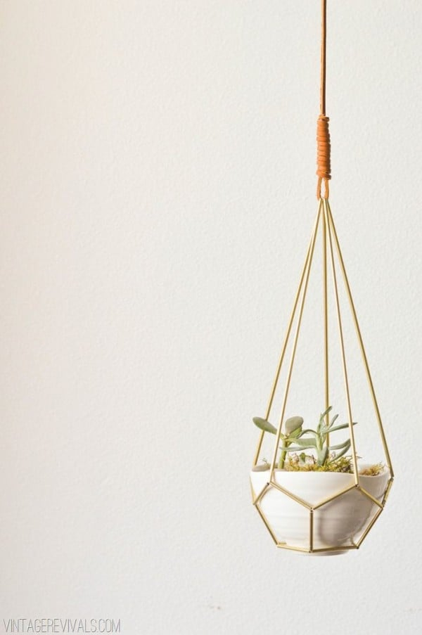Leather and brass hanging planter