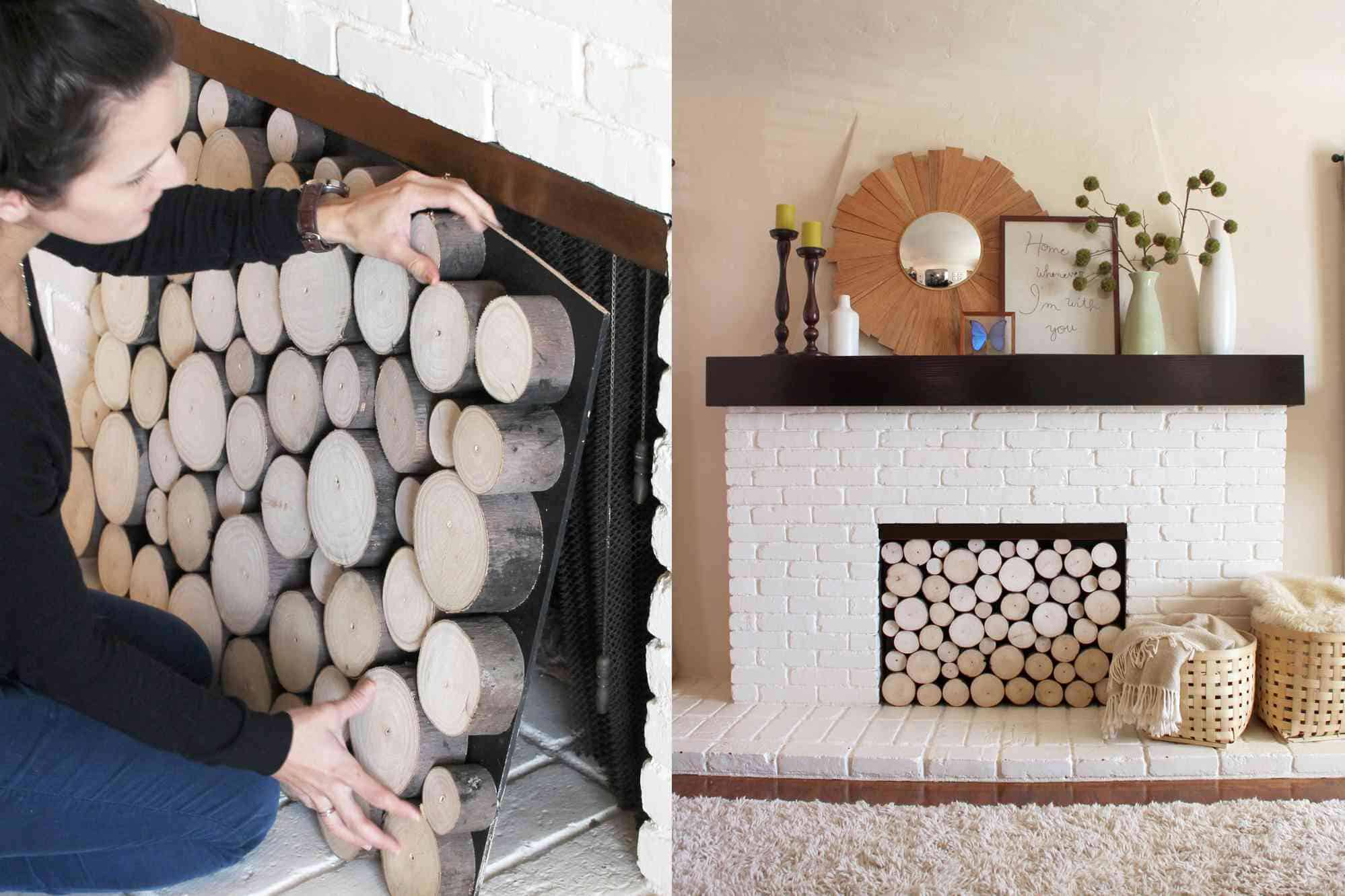Log collage fireplace filling
