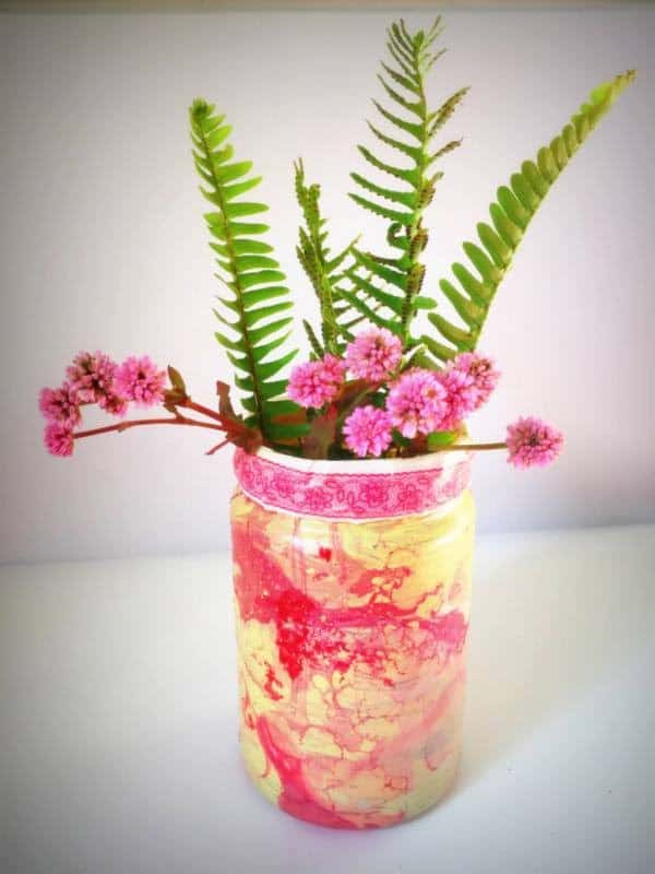 Marbled paint glass jar vase
